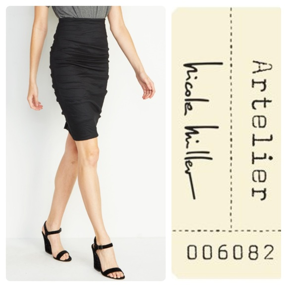 a205e9975961a Nicole Miller Skirts | Artelier Sandy Skirt Black Metallic | Poshmark
